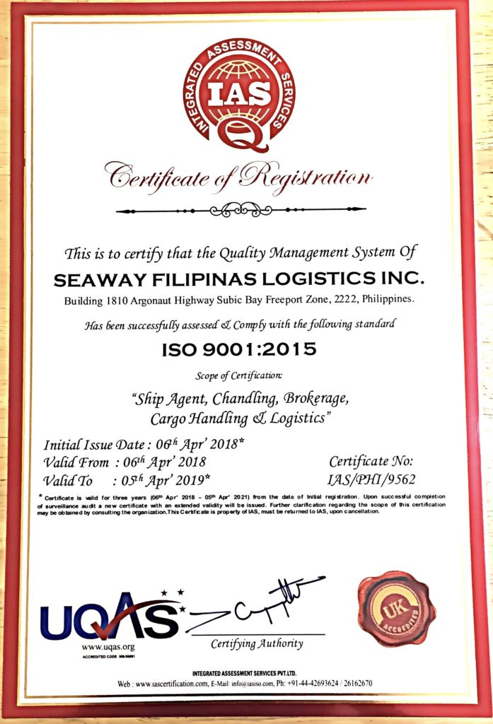 Sfl Is Now Iso 9001 Certified Seaway Filipinas Logistics Inc